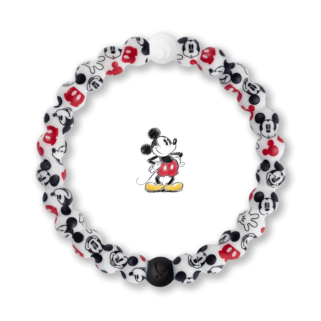 Silicone beaded bracelet with Mickey Mouse pattern