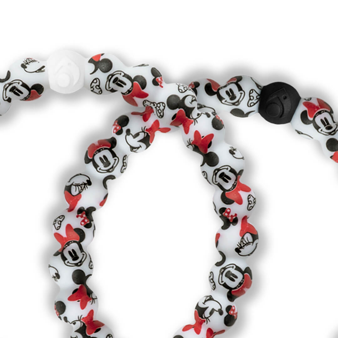 Close up of silicone beaded bracelet with Minnie Mouse pattern