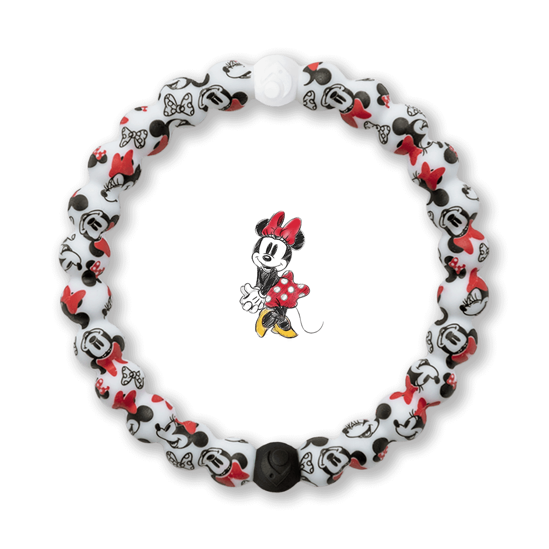 Silicone beaded bracelet with Minnie Mouse pattern