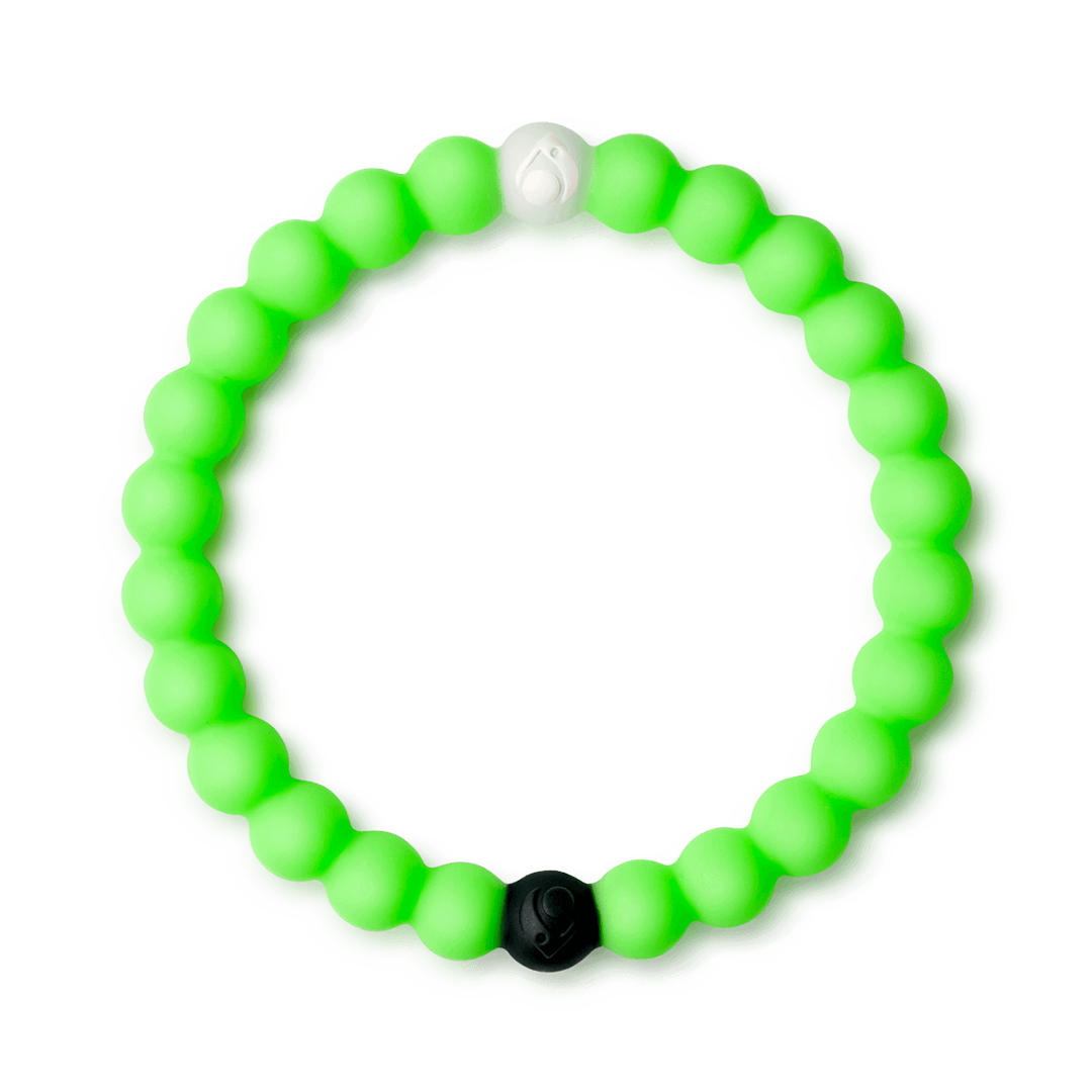 Neon green silicone beaded bracelet.