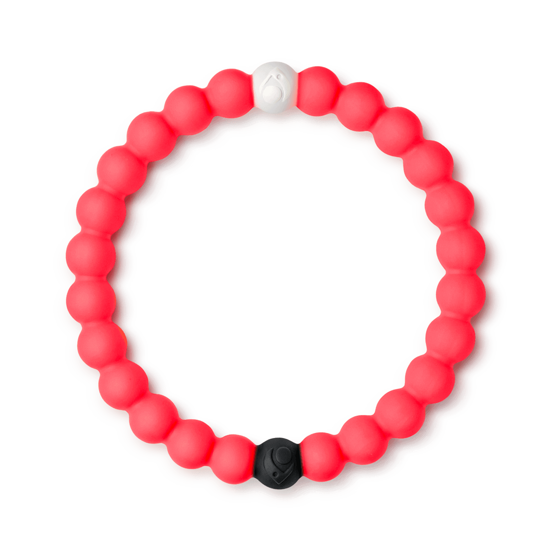 Neon pink silicone beaded bracelet.