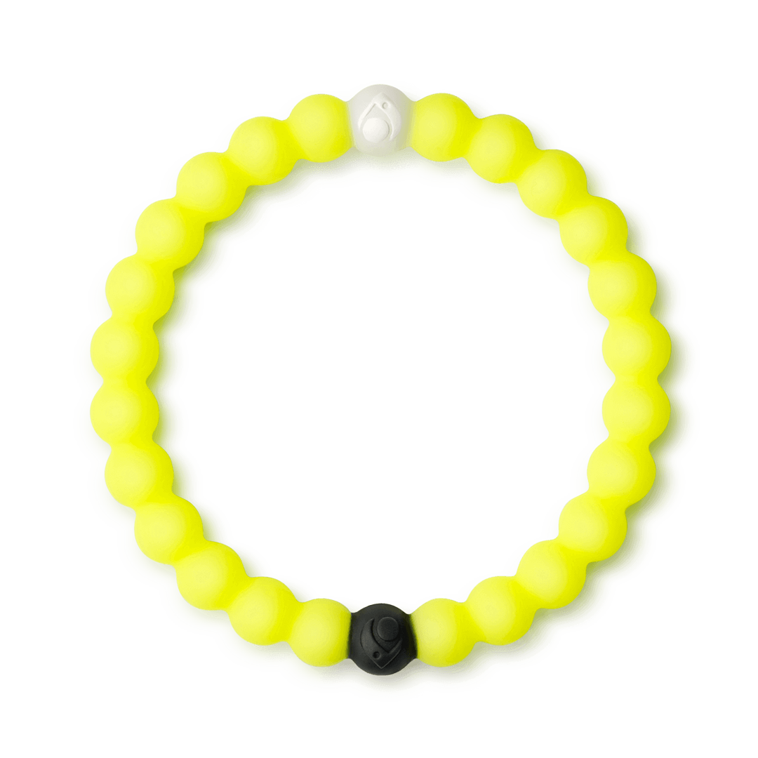 Neon yellow silicone beaded bracelet.