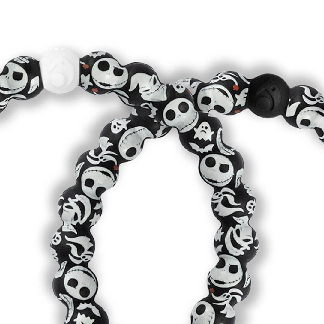 Close up of silicone beaded bracelet with skeleton pattern