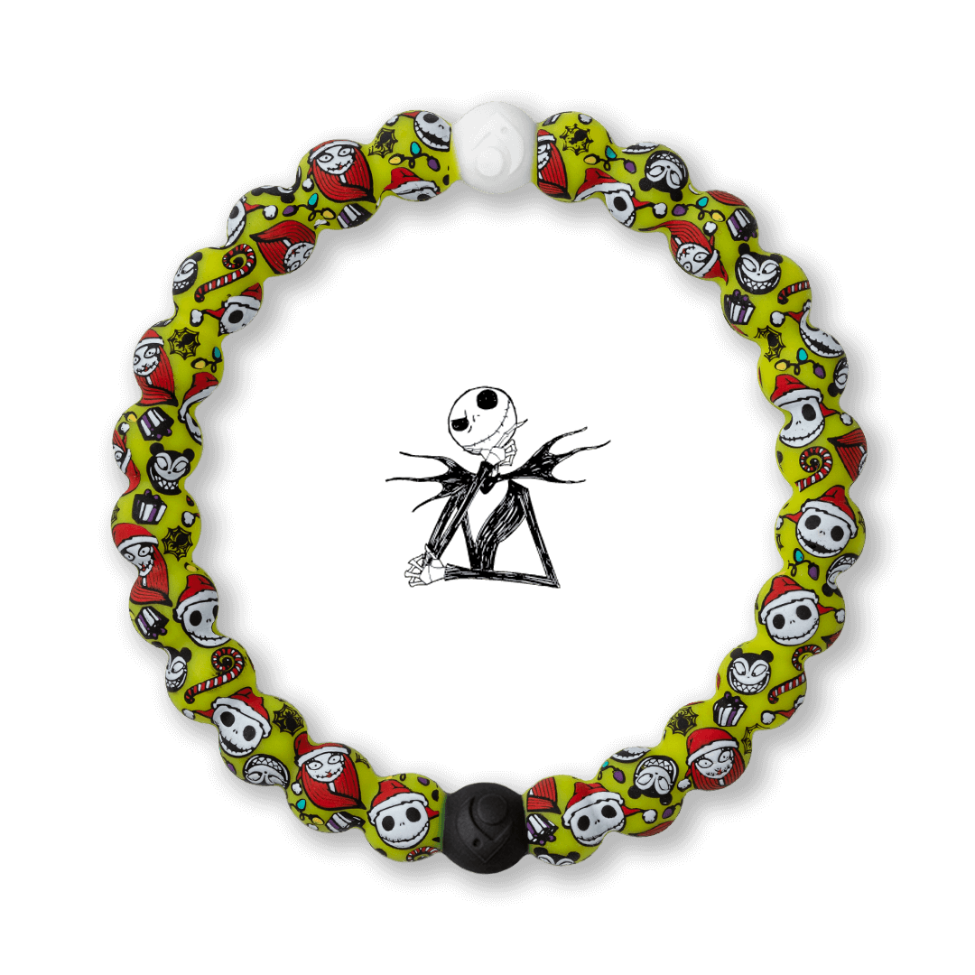Christmas themed silicone beaded bracelet with skeleton pattern