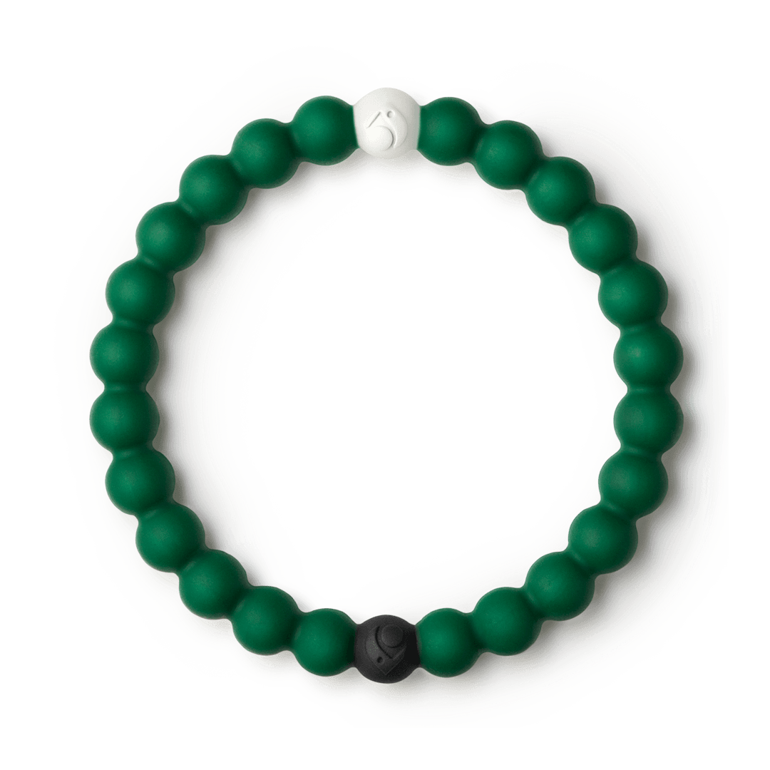 Hunter green silicone beaded bracelet.