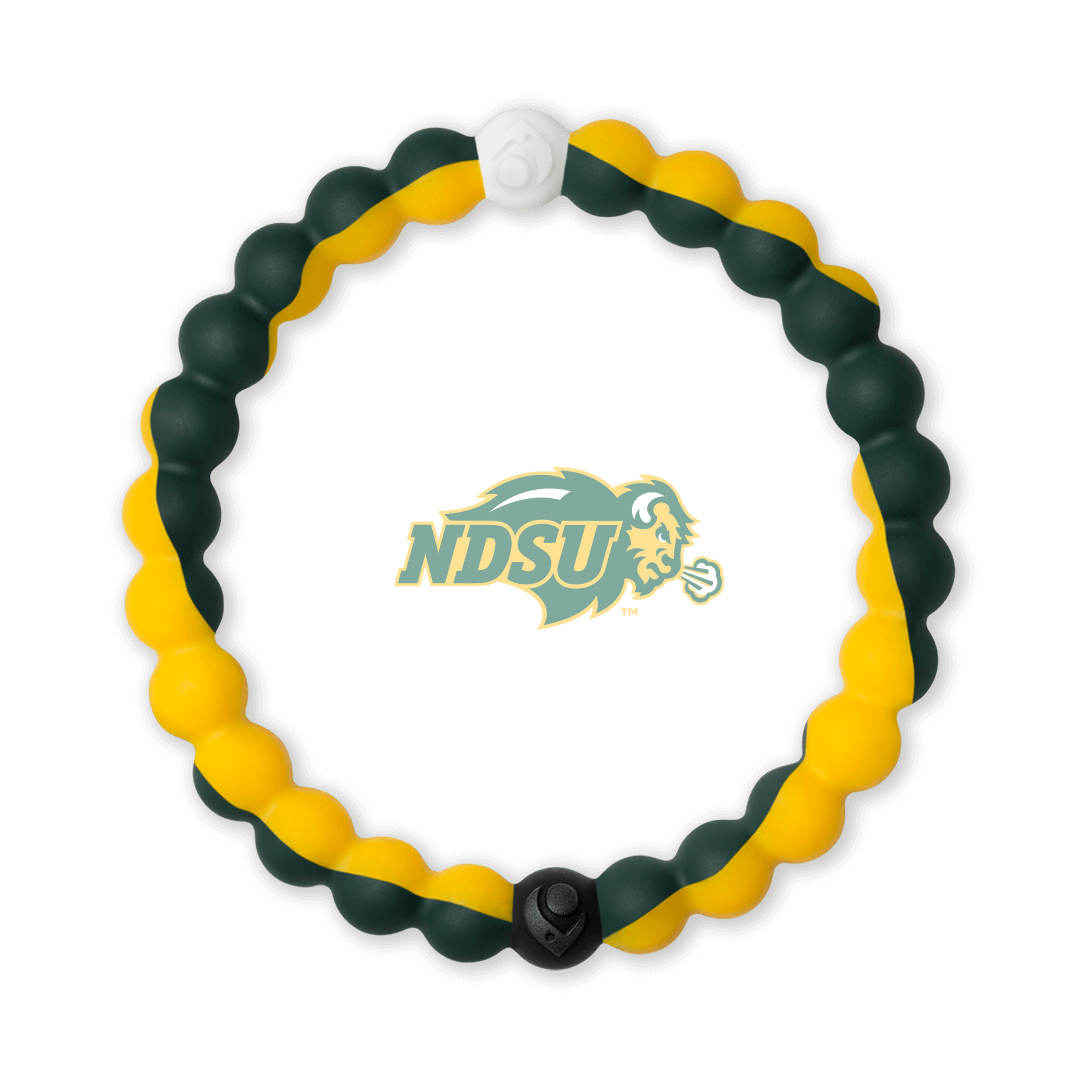 Dark green and yellow silicone beaded bracelet with the North Dakota State University logo in the center.