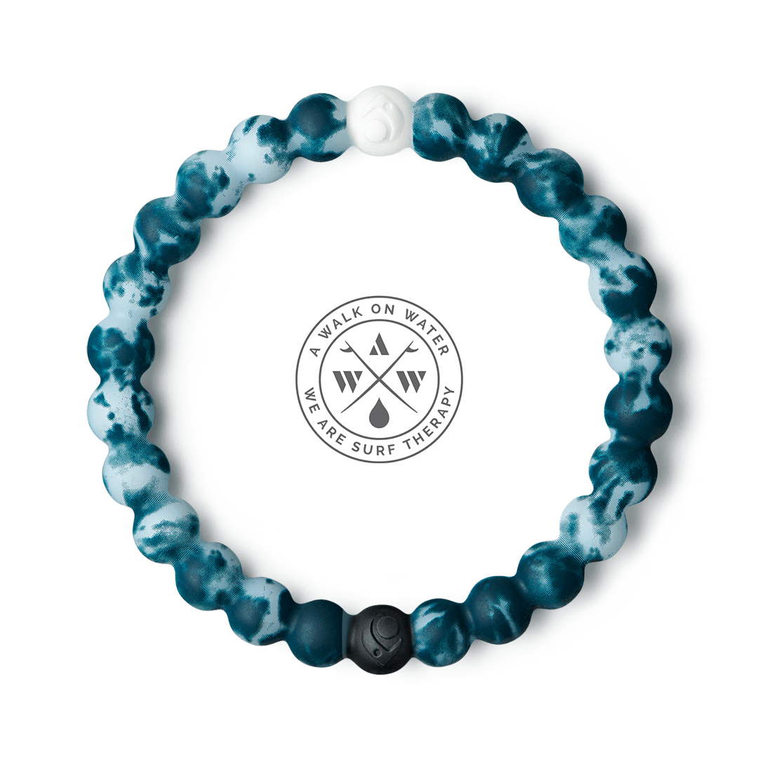 Turquoise and light blue tie-dye silicone beaded bracelet.