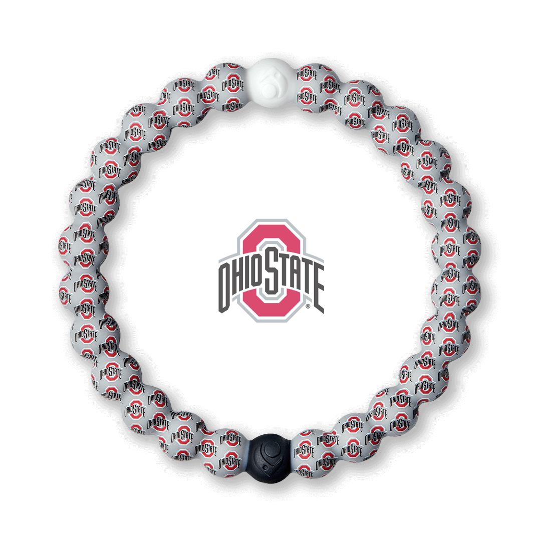 Silicone beaded bracelet with Ohio State logo pattern