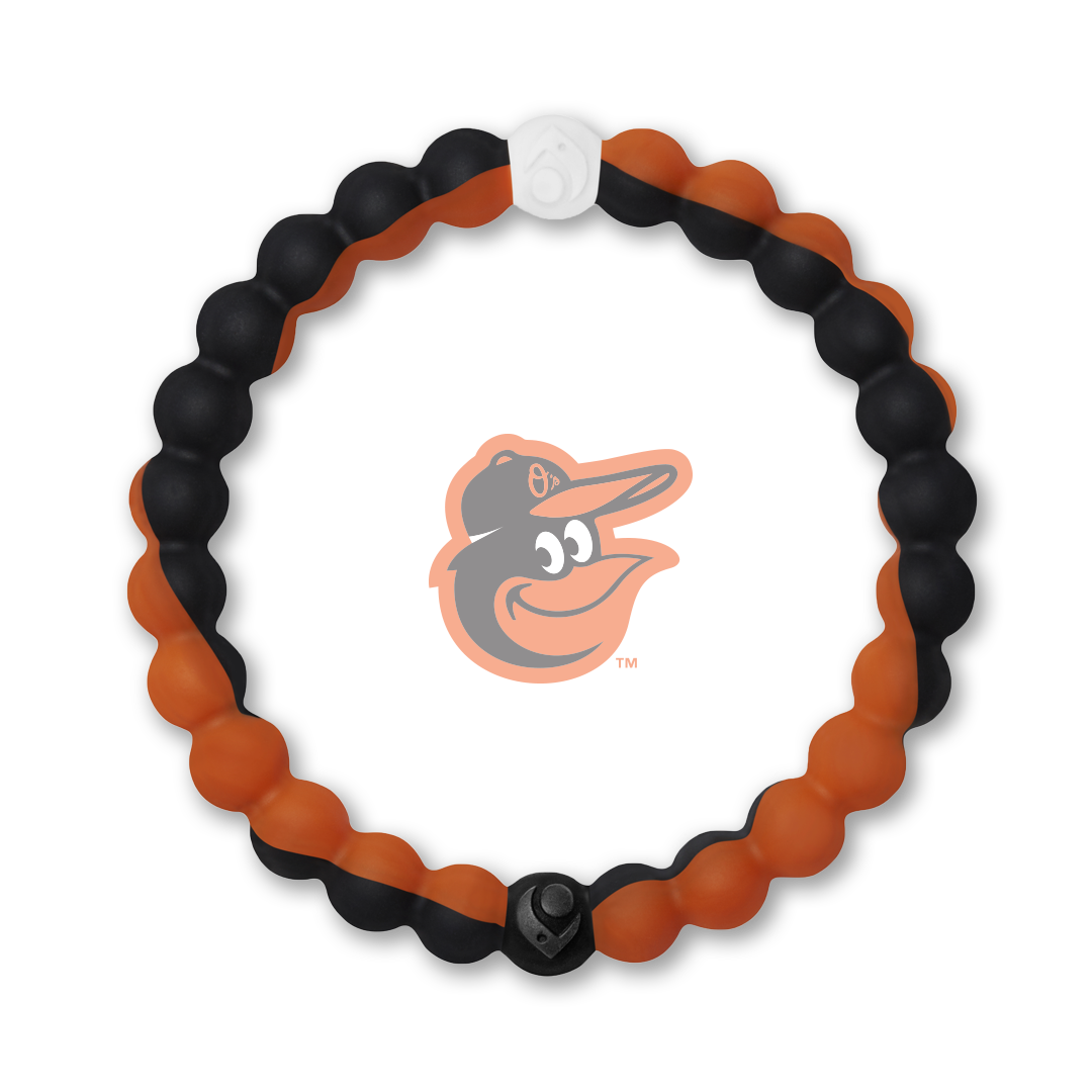 Orange and black silicone beaded bracelet with Baltimore Orioles team logo in the center.