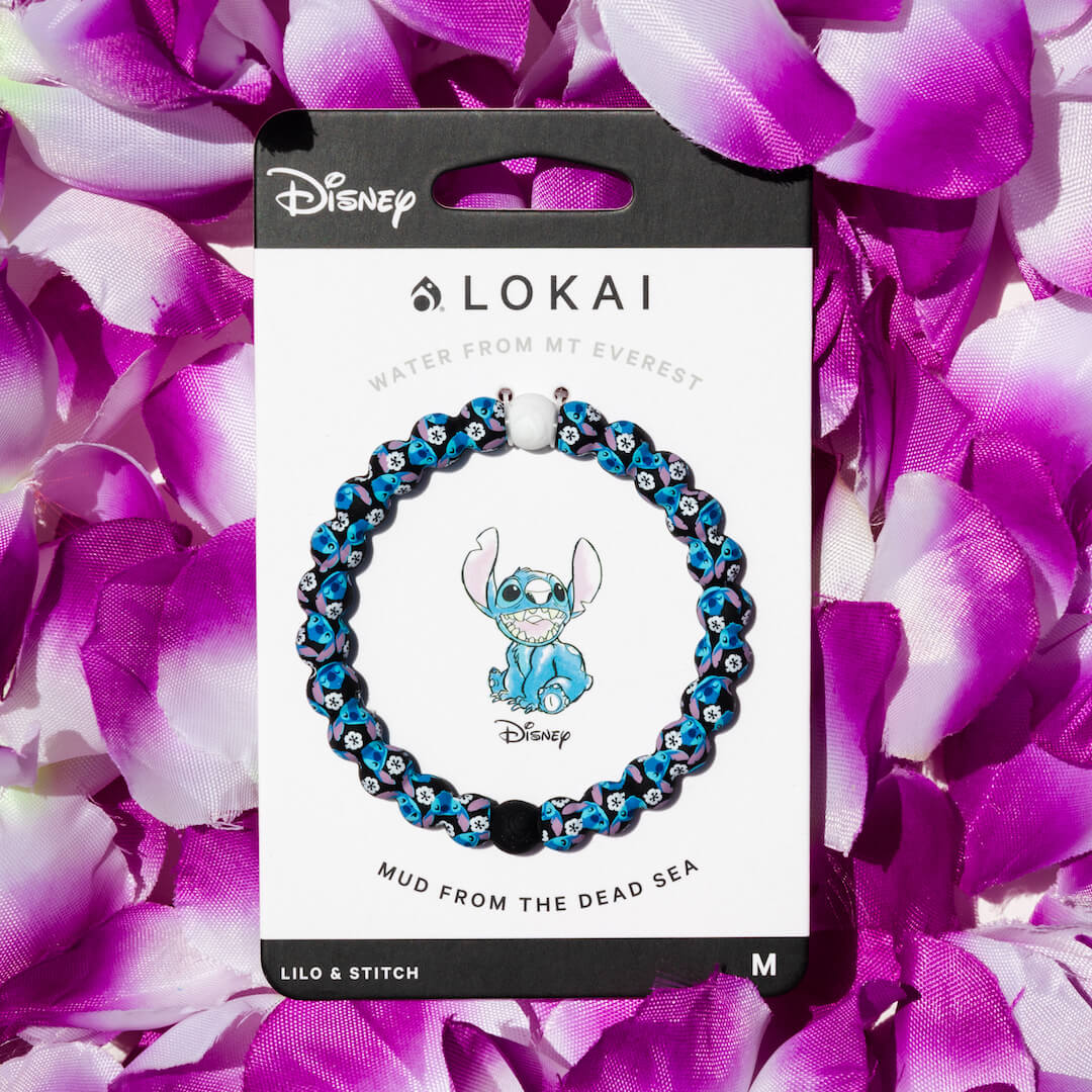 Silicone beaded bracelet with Lilo and Stitch on carded back