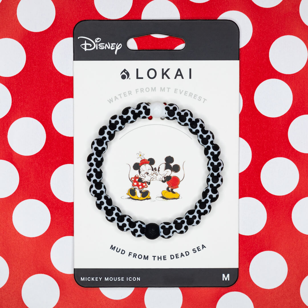 Silicone beaded bracelet with Mickey Mouse Icon on carded back