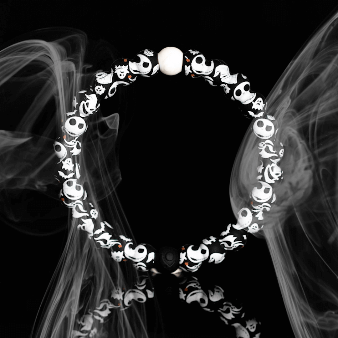 Silicone beaded bracelet with skeleton pattern and smoke behind it