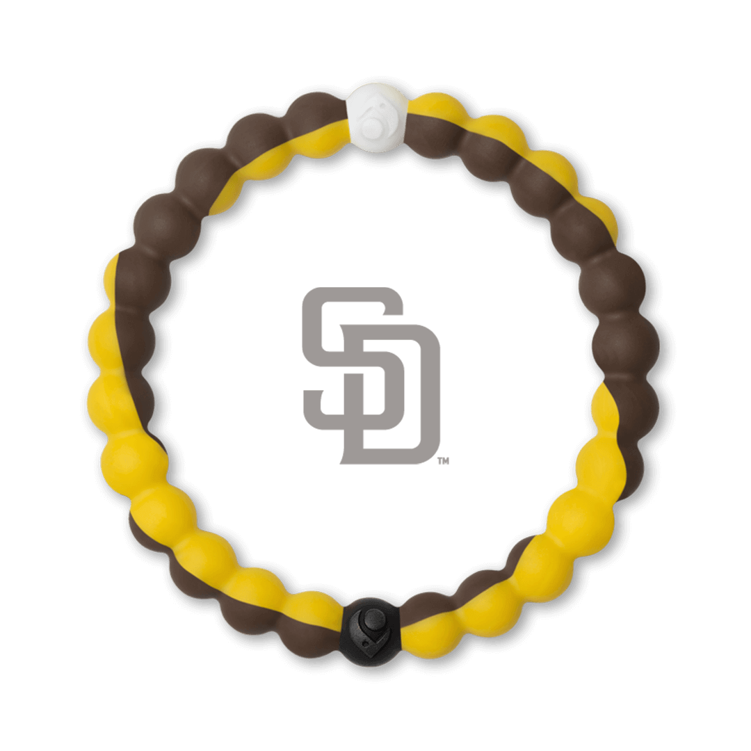 Yellow and brown silicone beaded bracelet with San Diego Padres team logo in the center.