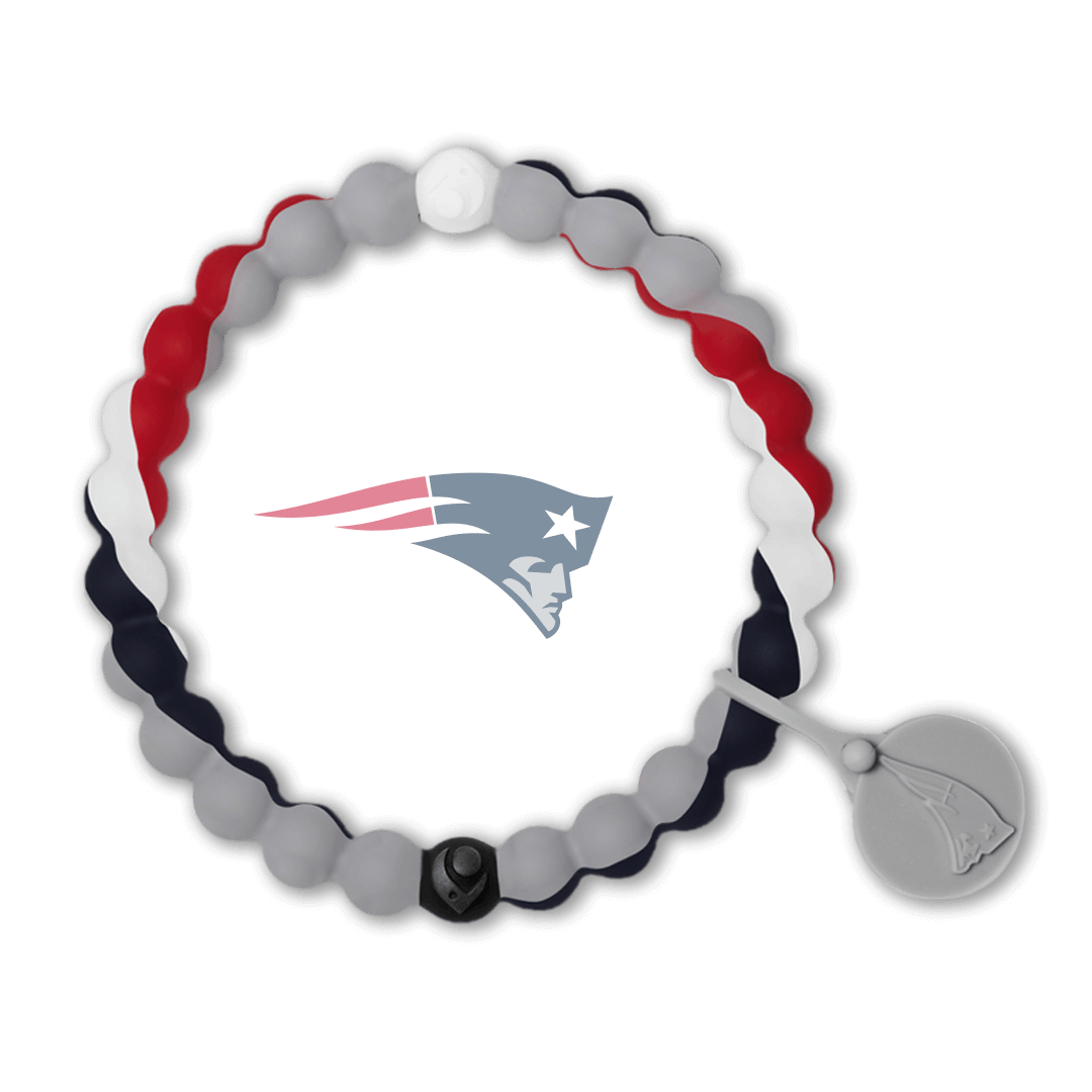 Red, white, blue and gray swirl silicone beaded bracelet.