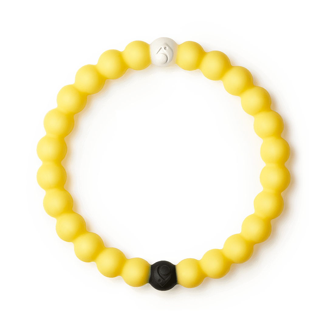 Yellow silicone beaded bracelet.