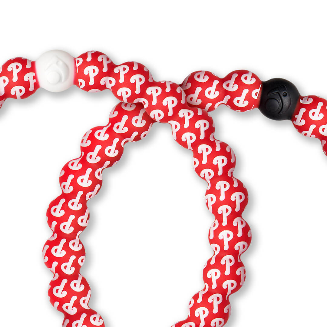 Close-up of silicone beaded bracelet with Philadelphia Phillies logo pattern.