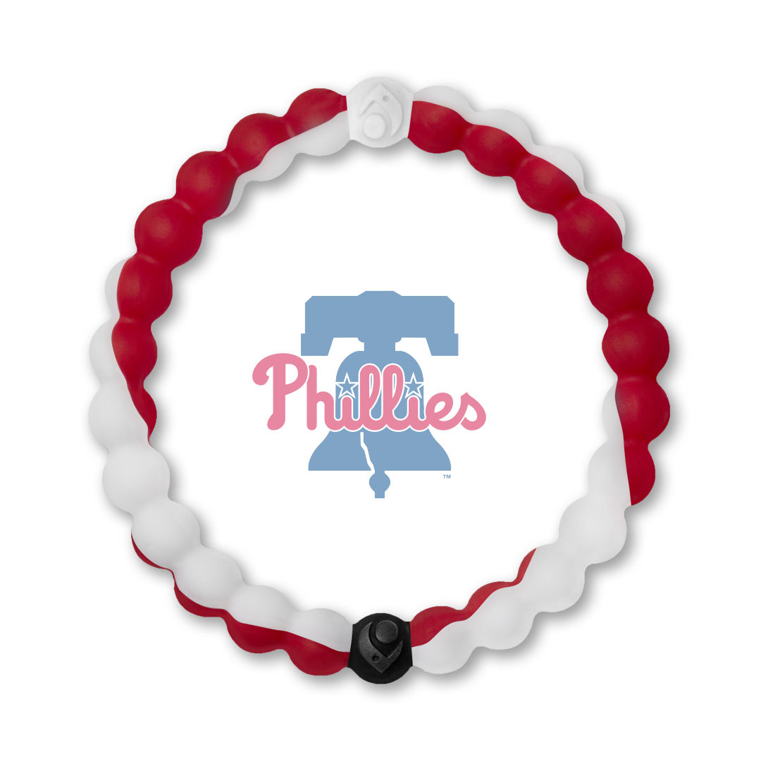 Red and white silicone beaded bracelet with Philadelphia Phillies team logo in the center.