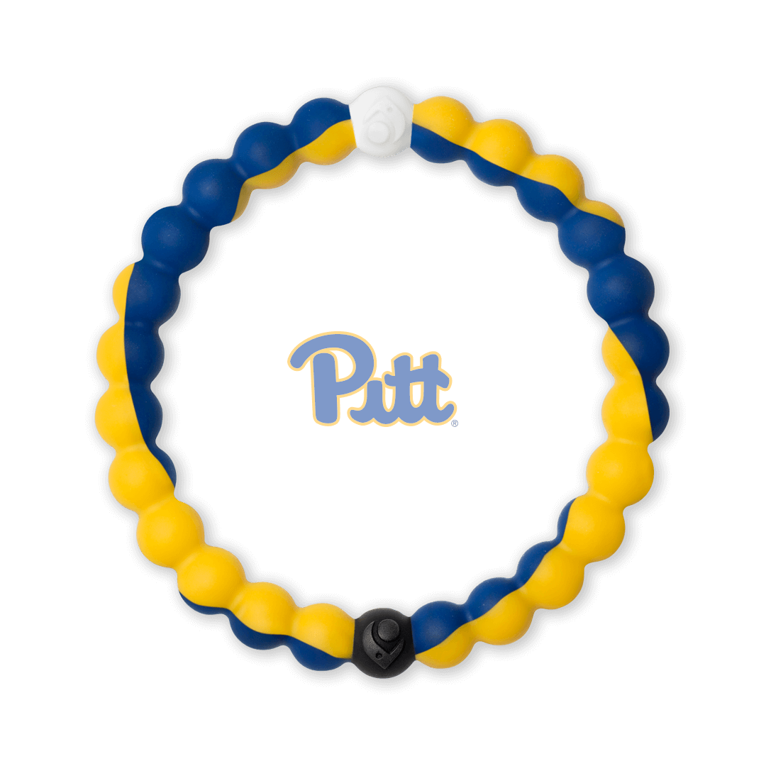 Blue and yellow silicone beaded bracelet with the University of Pittsburgh logo in the center.