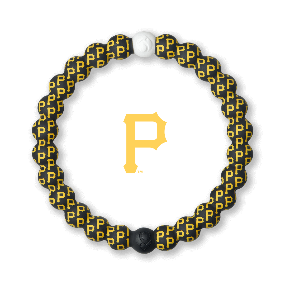 Silicone beaded bracelet with Pittsburg Pirates logo pattern