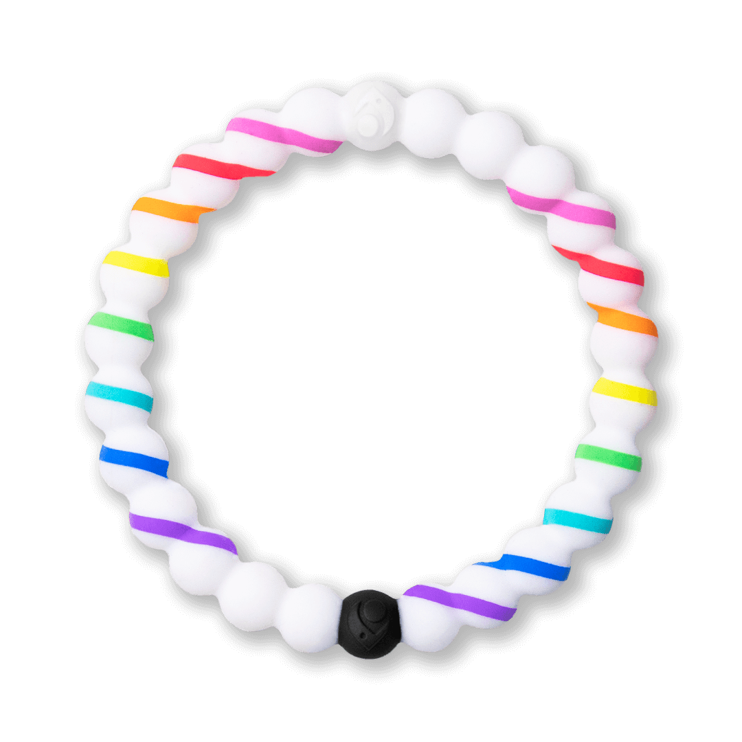 Silicone beaded bracelet with rainbow stripes.