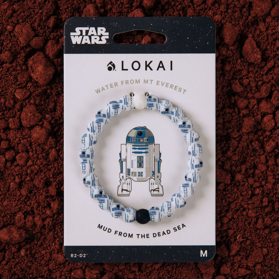 Silicone beaded bracelet with R2D2 pattern on carded packaging