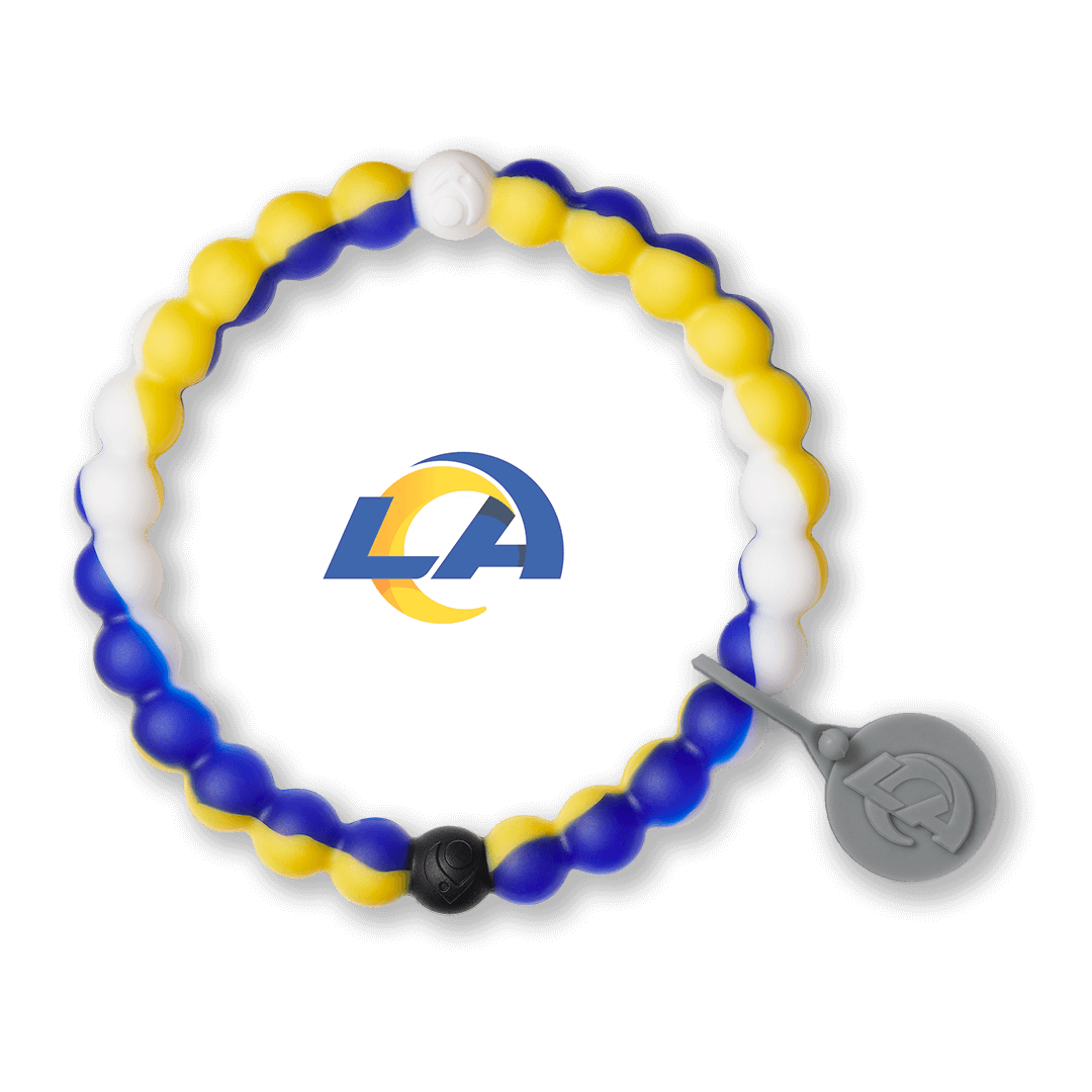 Blue, white and yellow silicone beaded bracelet with Los Angeles Rams team logo in the center.