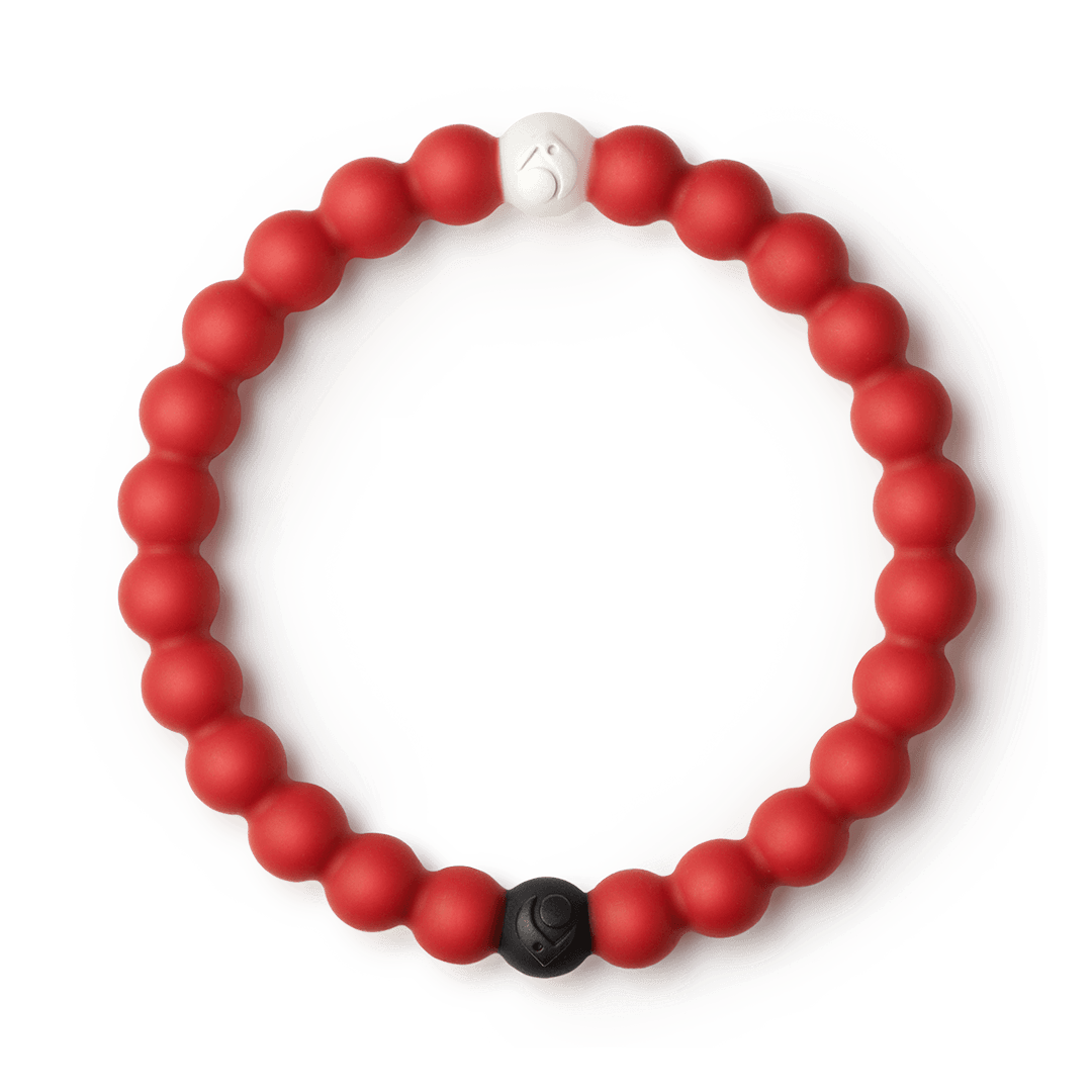 Red silicone beaded bracelet.