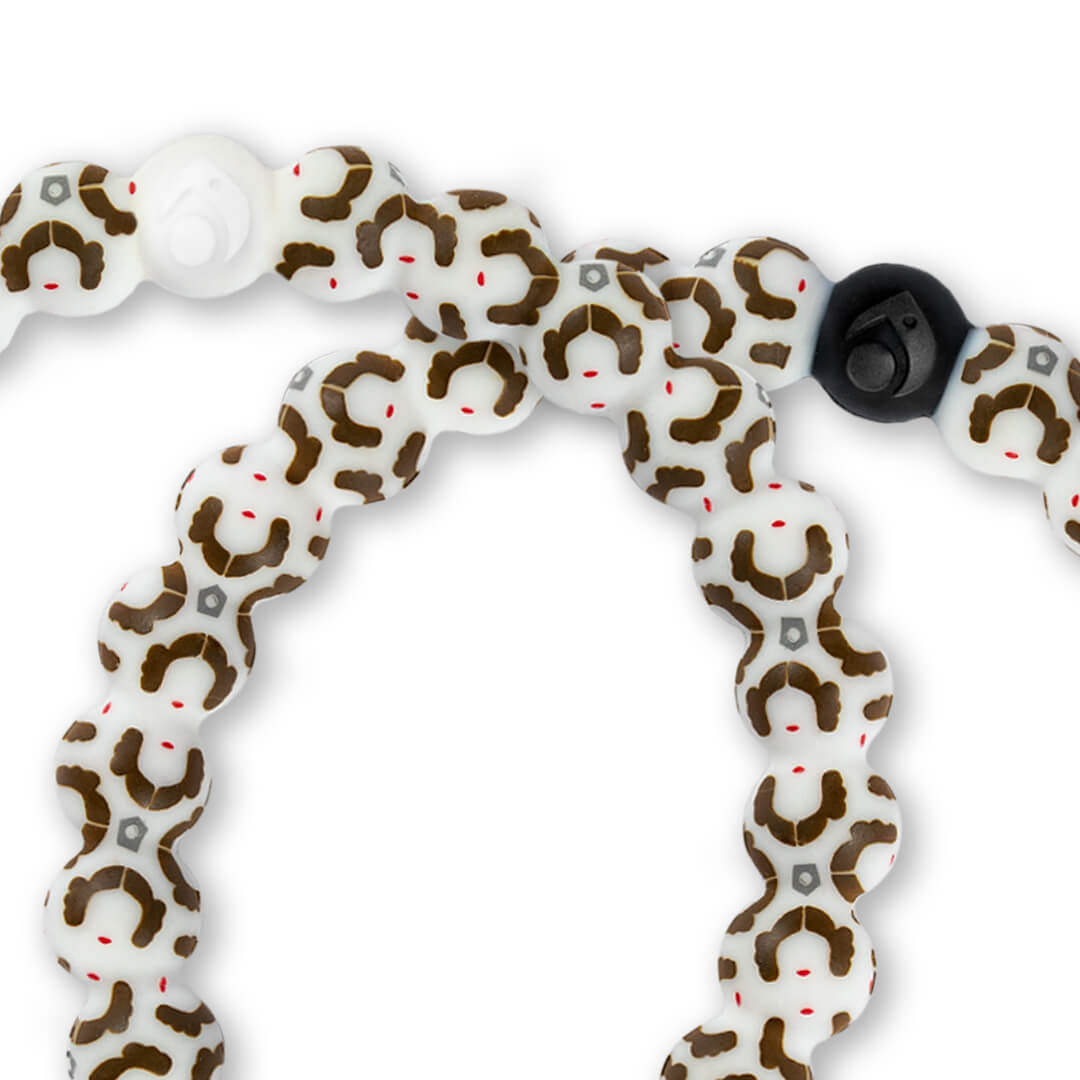 Close up of silicone beaded bracelet with Princess Leia pattern.