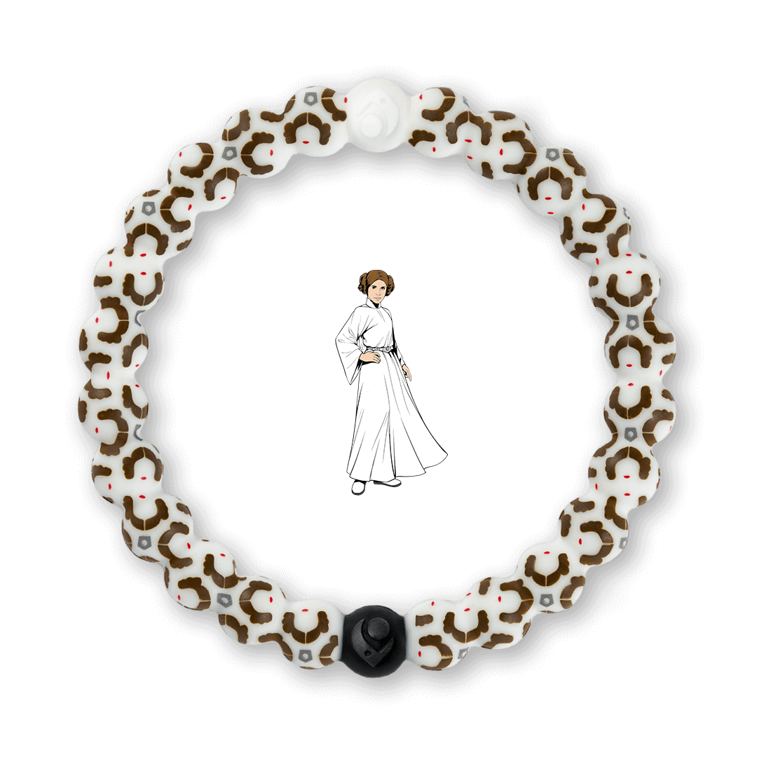Silicone beaded bracelet with Princess Leia pattern.