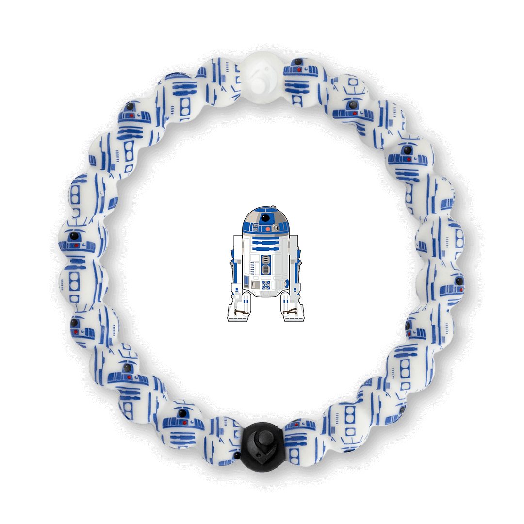 Silicone beaded bracelet with R2-D2 pattern