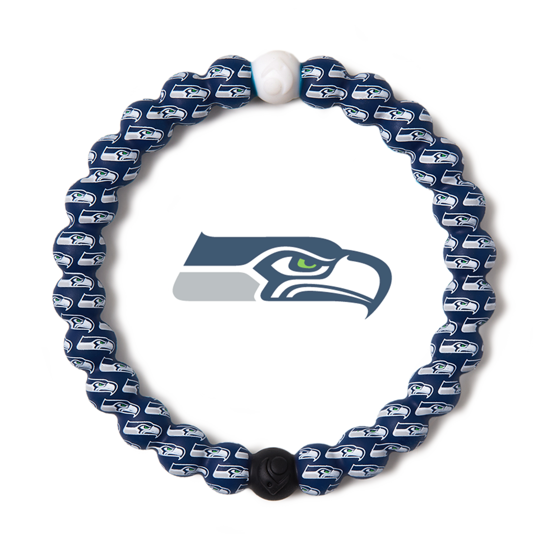 Green, gray and blue silicone beaded bracelet with Seattle Seahawks team logo in the center.
