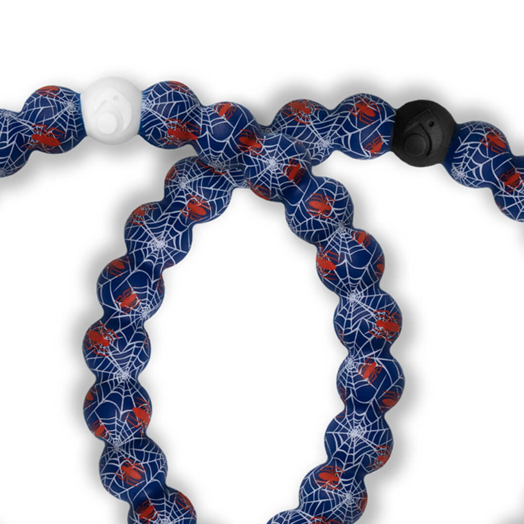Close up of silicone beaded bracelet with Spider-Man pattern.
