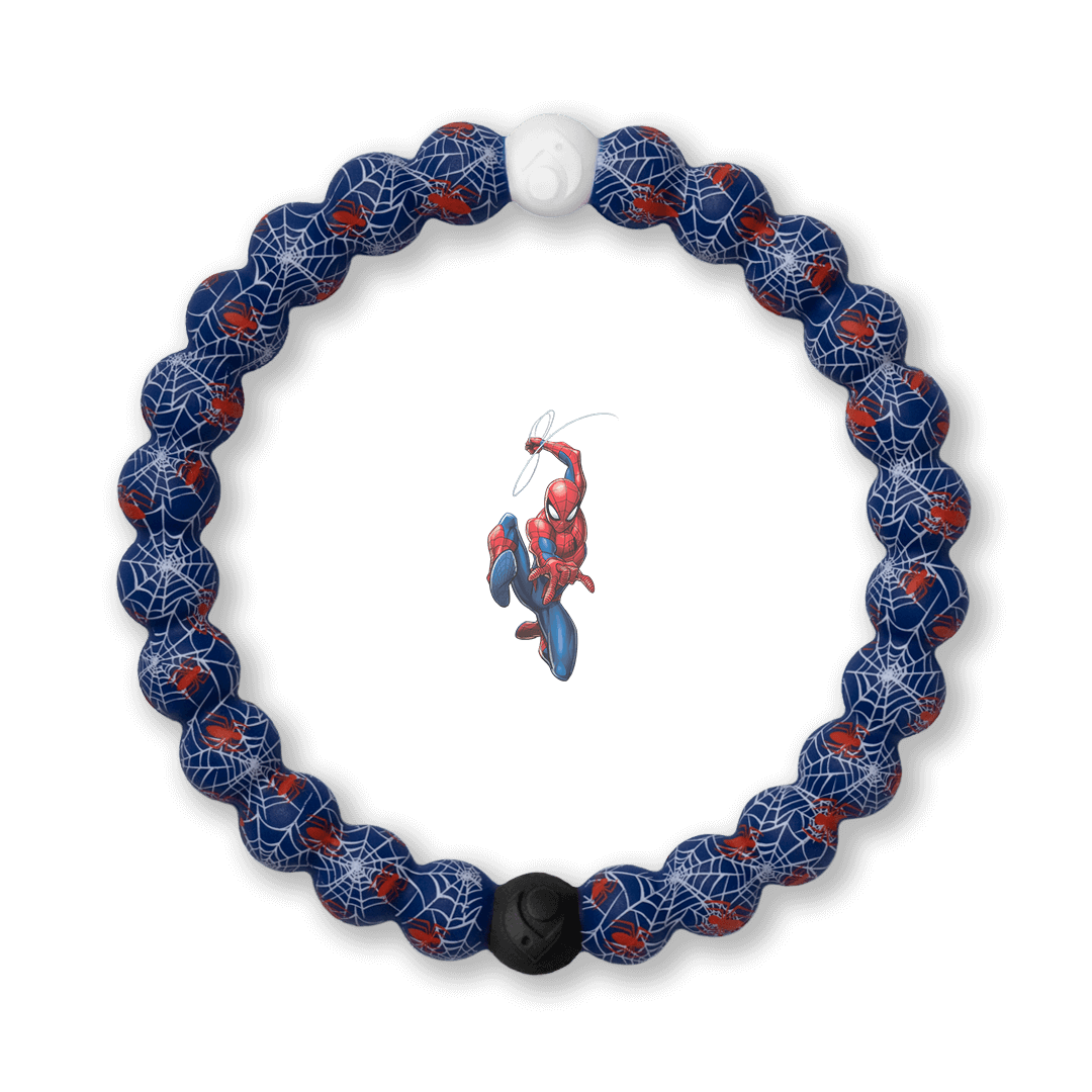 Silicone beaded bracelet with Spider-Man pattern.