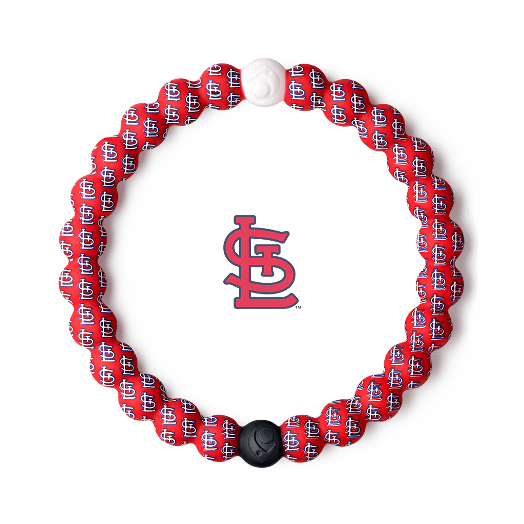 Silicone beaded bracelet with St Louis Cardinals logo pattern