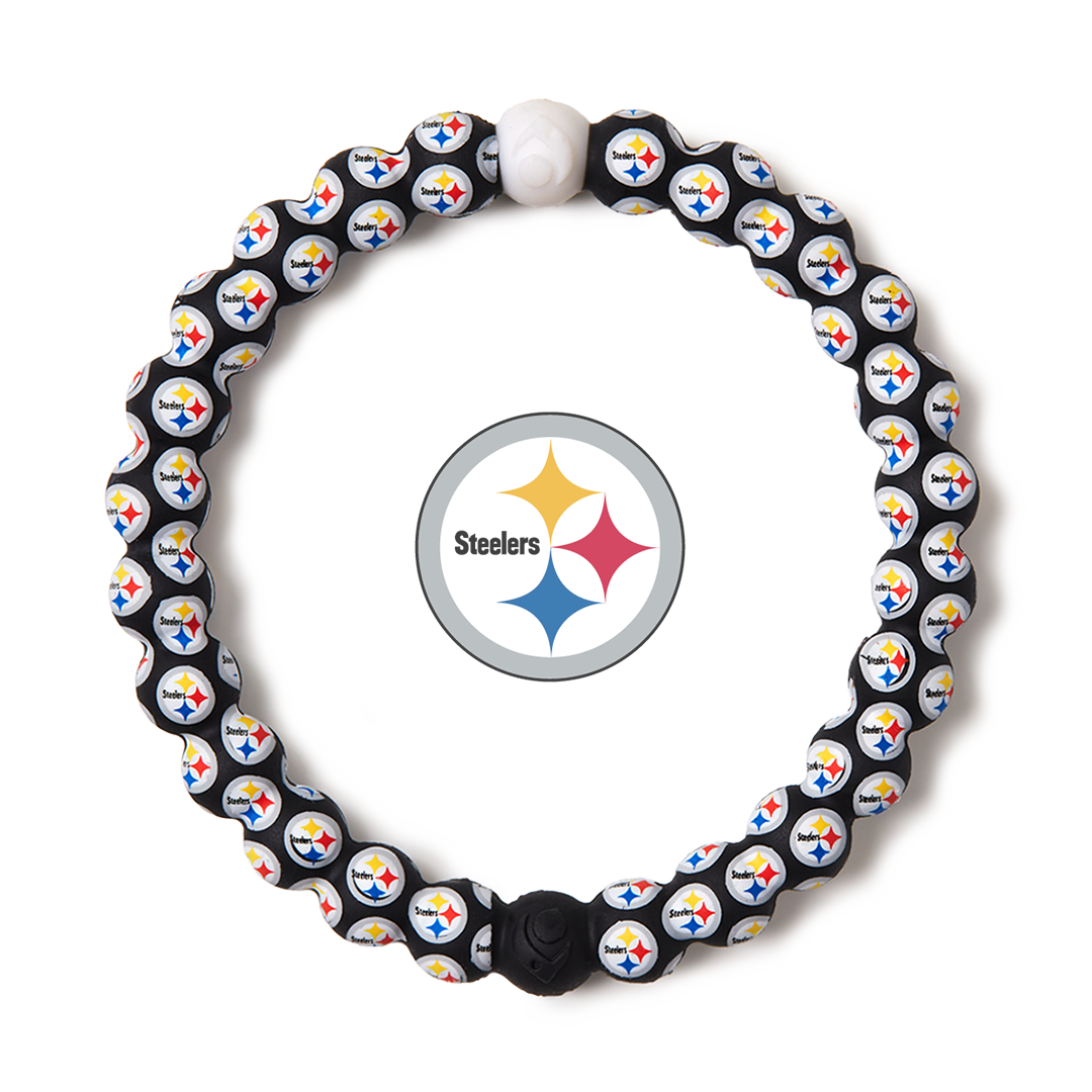 Black and yellow silicone beaded bracelet with Pittsburgh Steelers team logo in the center.
