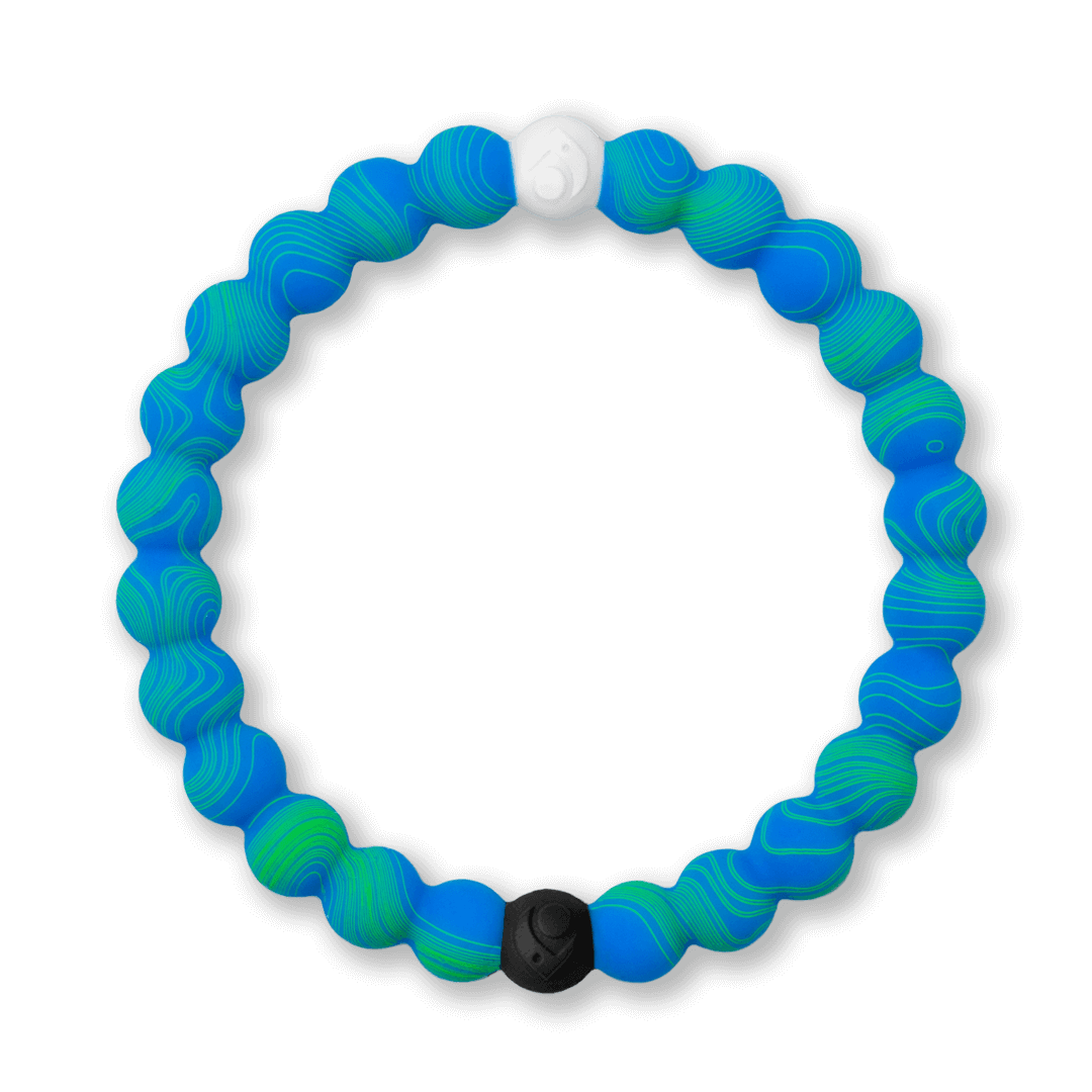 Silicone beaded bracelet with blue and green swirl pattern.