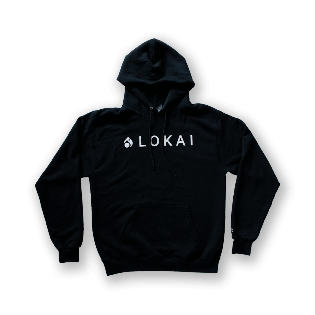 Black hooded sweatshirt with Lokai Logo on front.