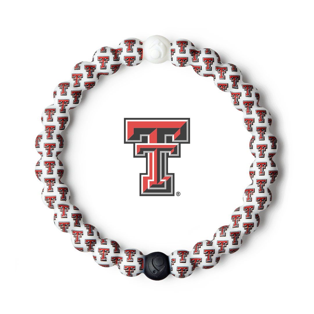 Red, white and black silicone beaded bracelet with the Texas Tech University logo all over it.