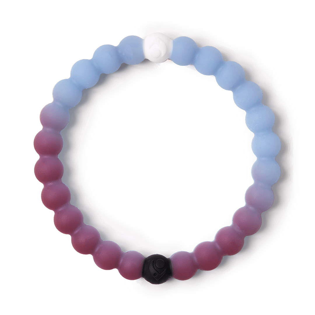 Multi-color and navy blue silicone beaded bracelet with the word