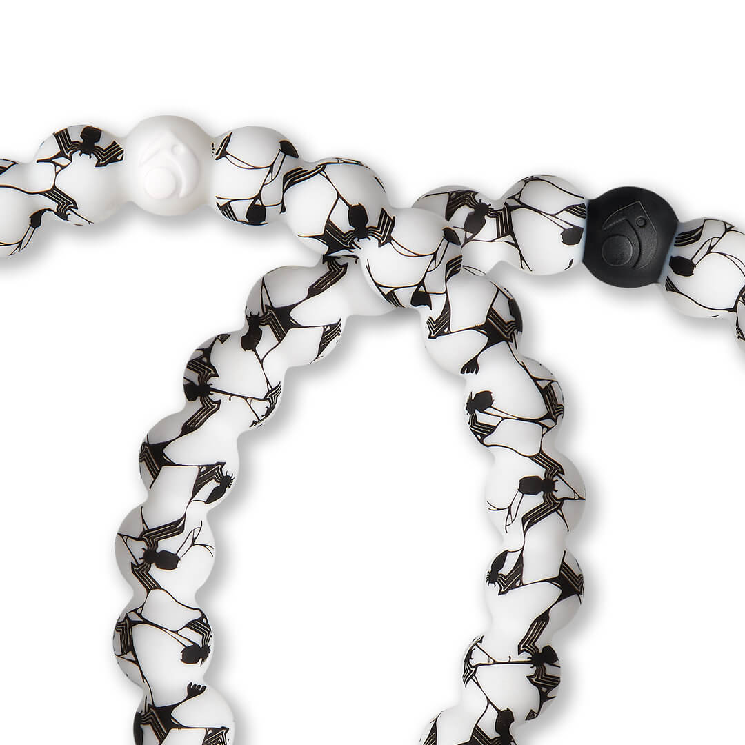Close up of silicone beaded bracelet with Venom pattern.
