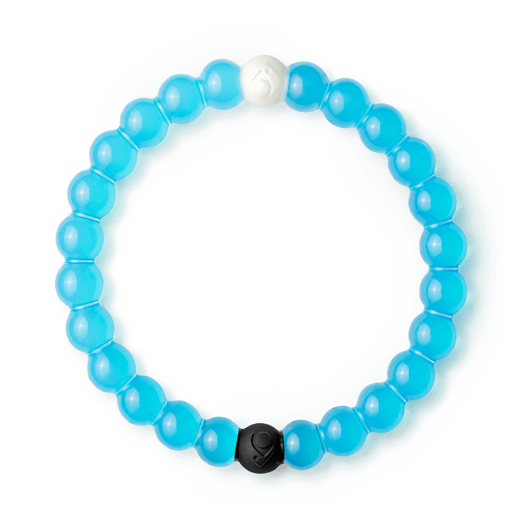 Blue silicone beaded bracelet.