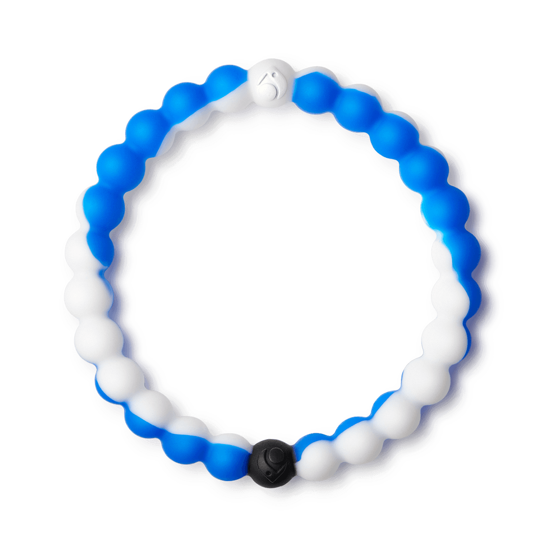 Blue and white swirl silicone beaded bracelet.