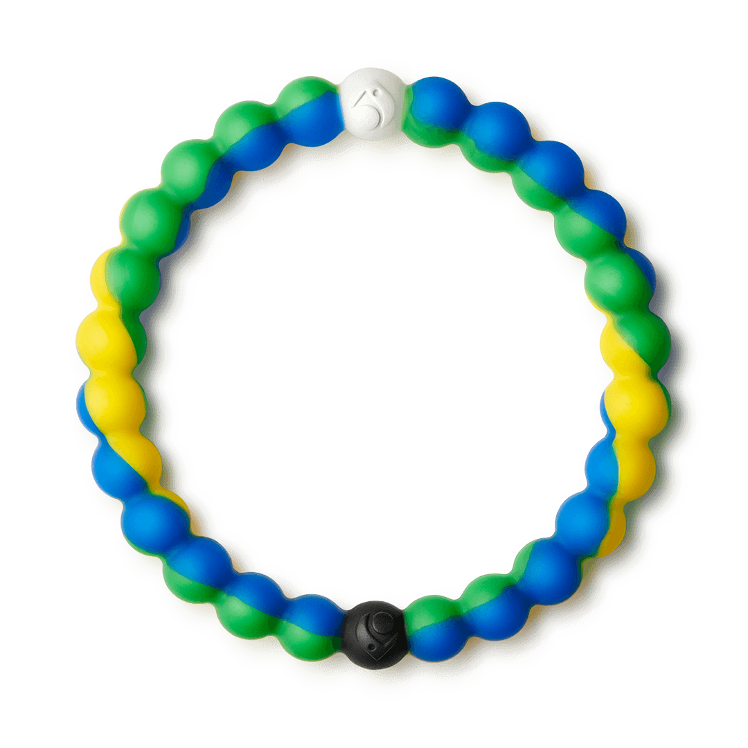 Green, yellow and blue swirl silicone beaded bracelet.
