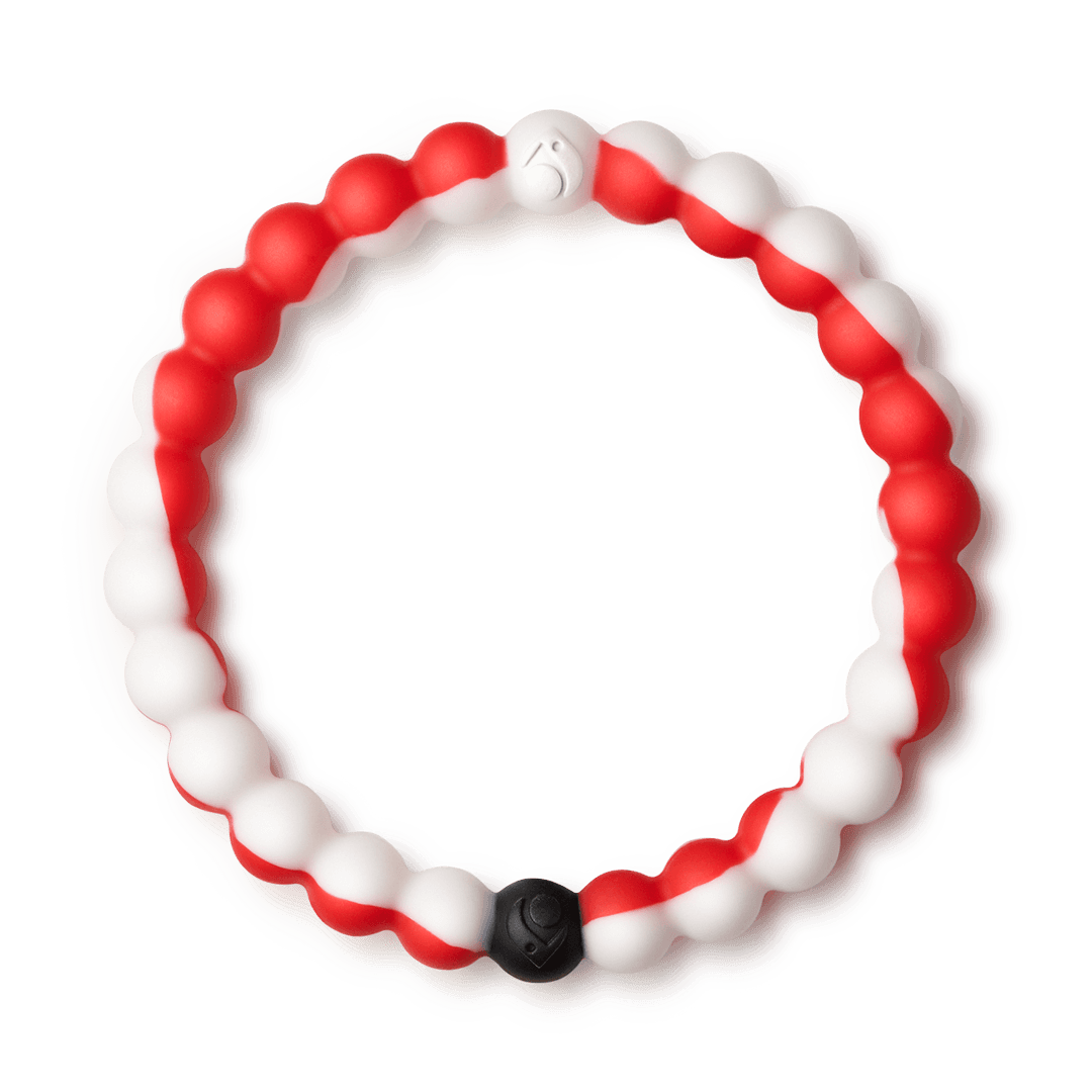 Red and white swirl silicone beaded bracelet.