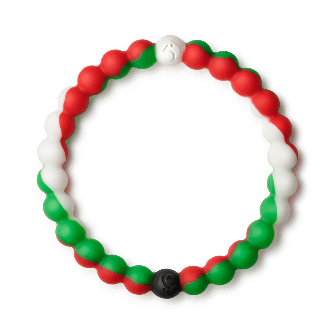 Red, white and green silicone beaded bracelet.