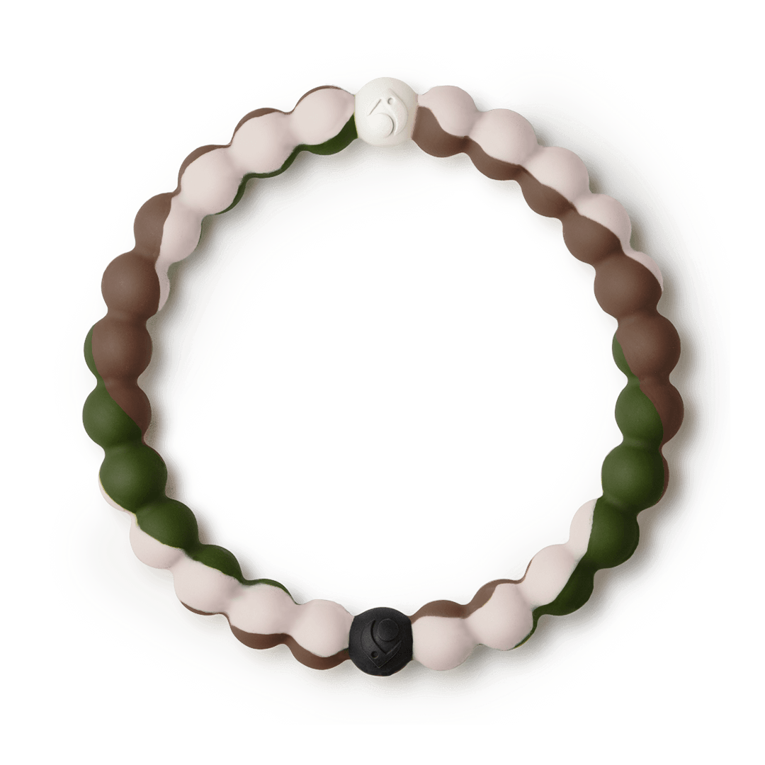Cream, brown, and green swirl silicone beaded bracelet.
