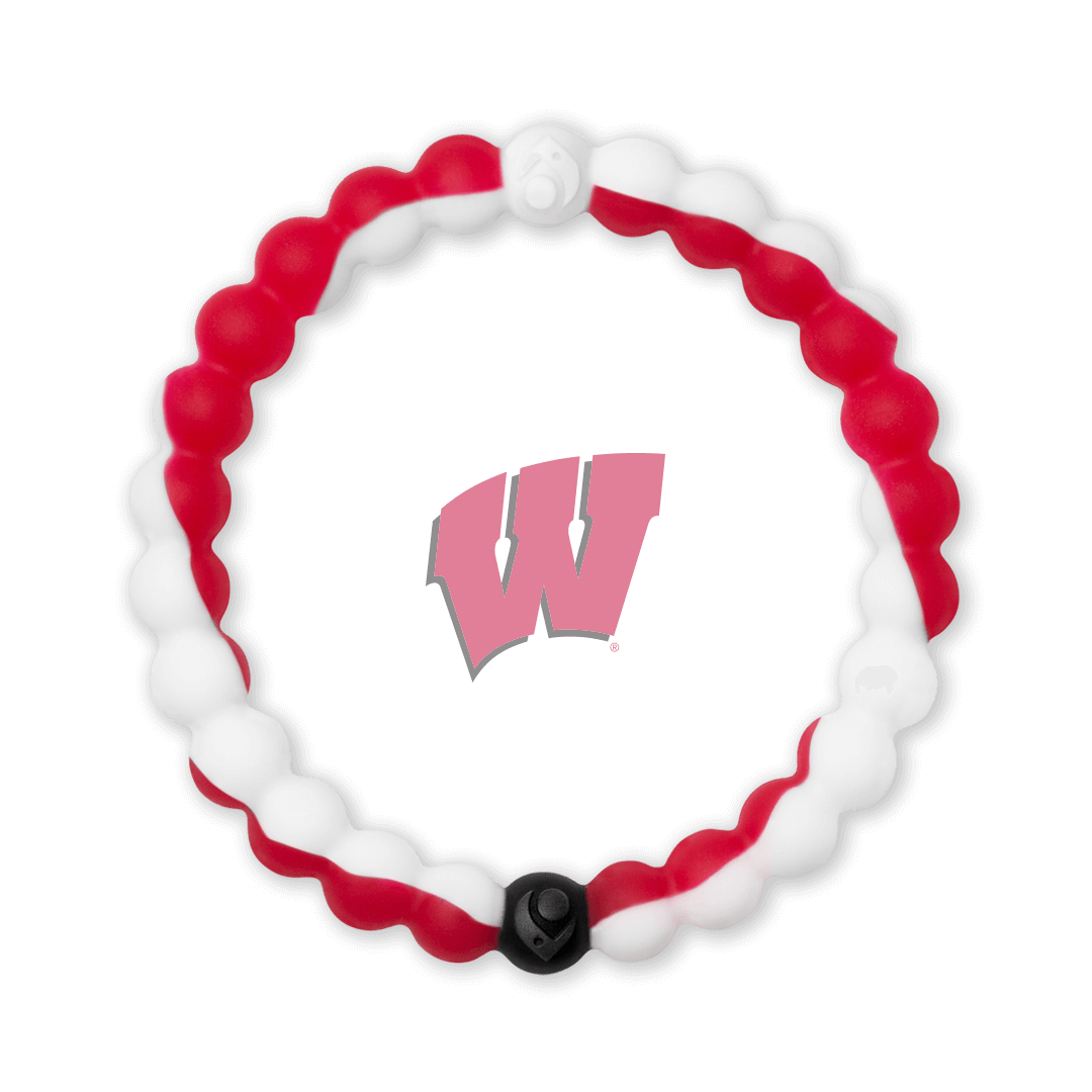 White and red silicone beaded bracelet with the University of Wisconsin logo in the center.