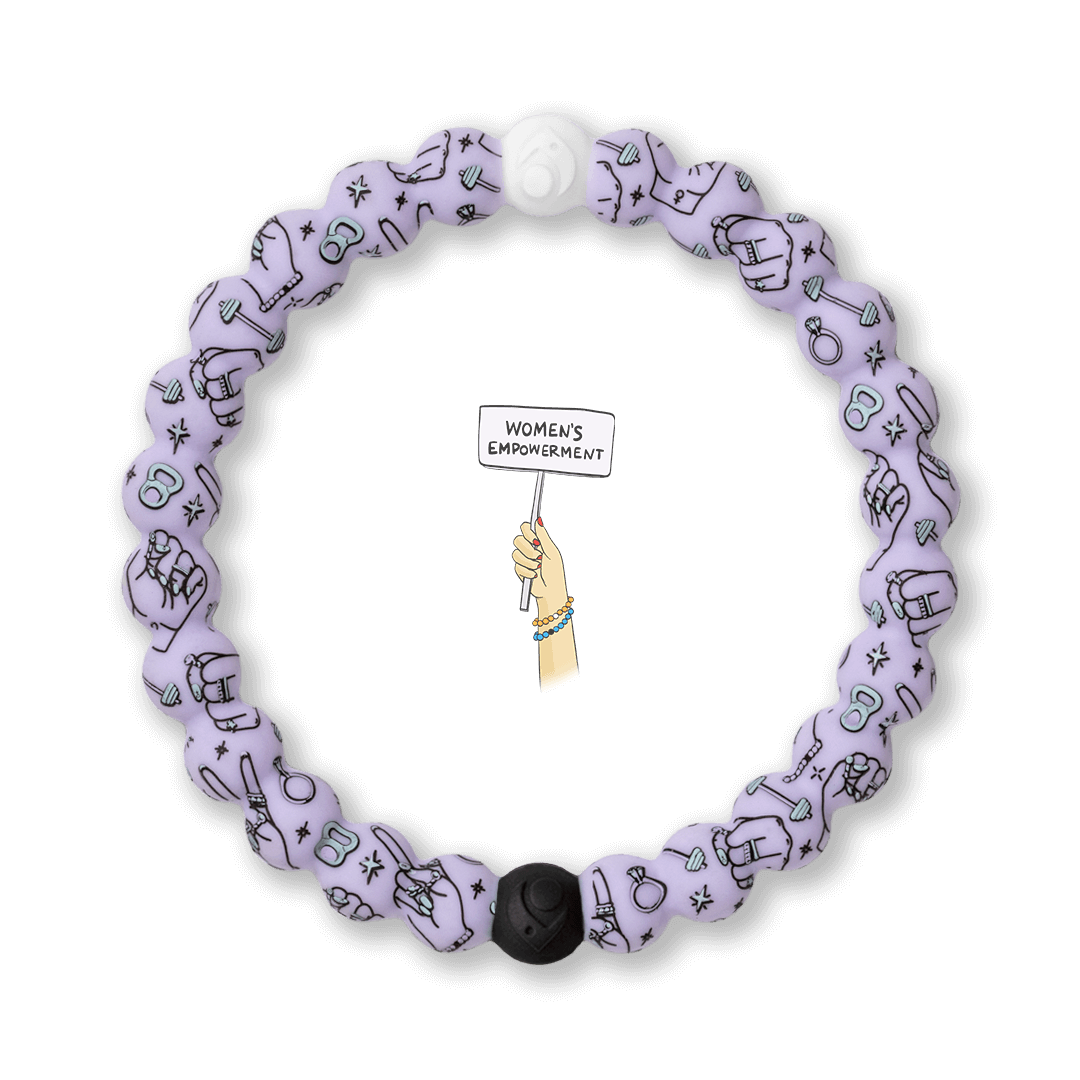 Light purple silicone beaded bracelet with workout equipment icons.