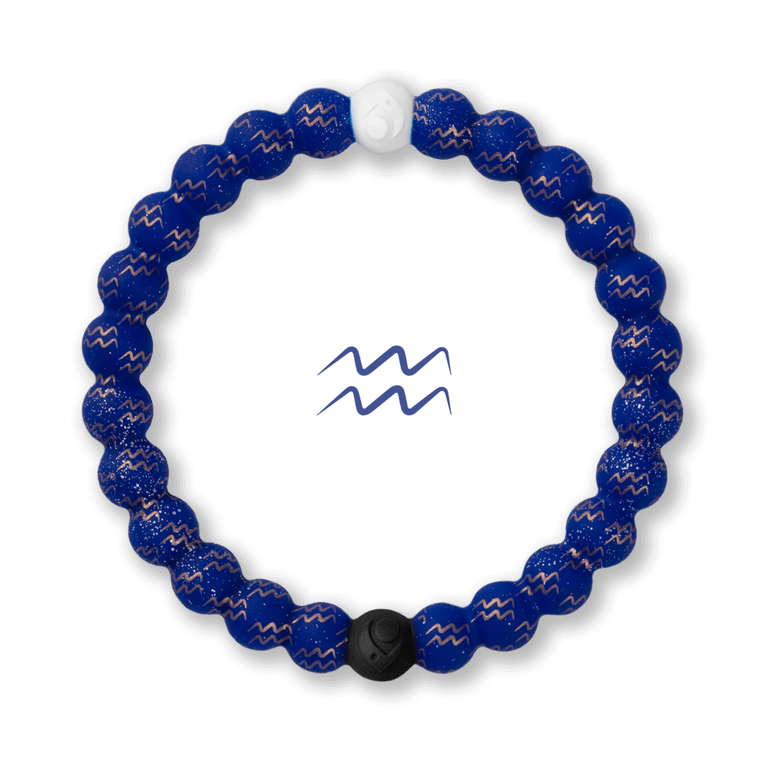 Silicone beaded bracelet with Aquarius symbol pattern.