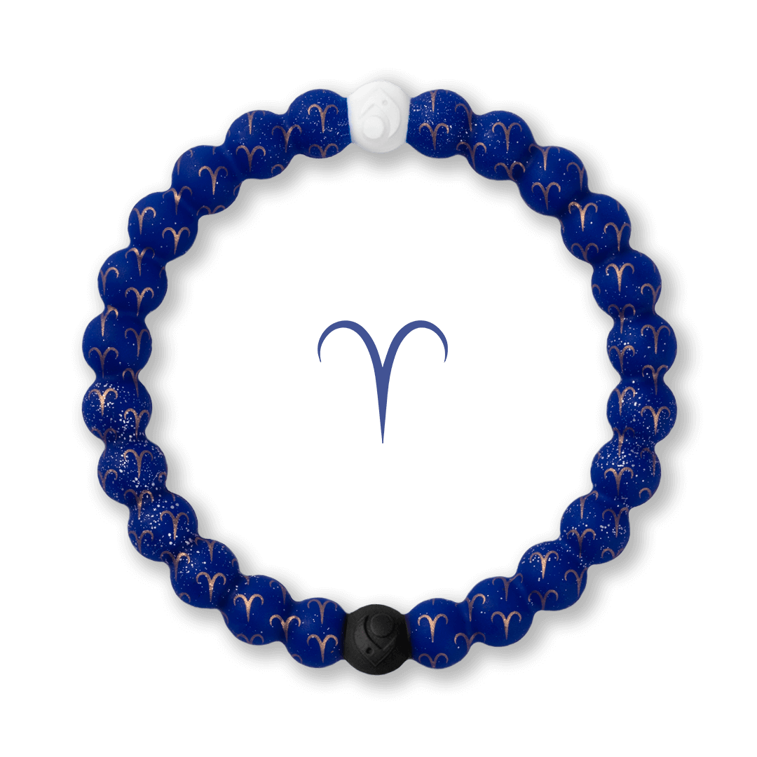 Silicone beaded bracelet with Aries symbol pattern.